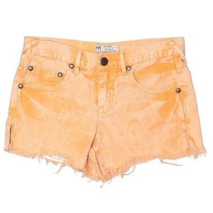 Free People Orange Denim Shorts